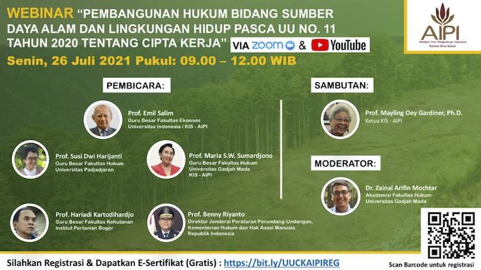 Webinar Pembangunan Hukum Bidang Sumber Daya Alam dan Lingkungan Hidup Pasca Undang Undang No. 11 Tahun 2020 tentang Cipta Kerja